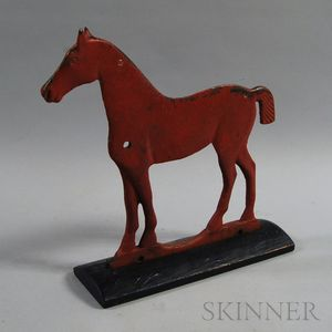 Red-painted Cast Iron Short Tail Pony Windmill Weight on Stand
