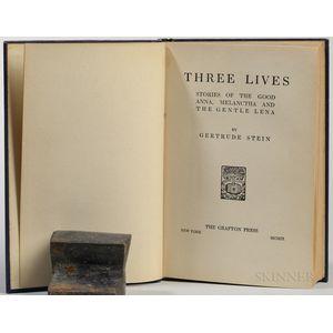 Stein, Gertrude (1874-1946) Three Lives  , First Edition.