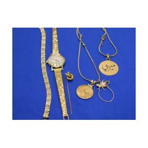 Womans Omega Wristwatch, Bracelet, Stickpin, Pendant and Brooch.