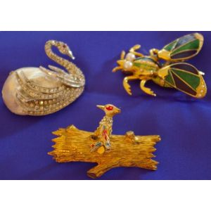 Three Hattie Carnegie Costume Brooches