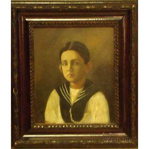 Framed Oil on Canvas, Portrait of a Boy, Attributed to Benito Rebolledo Correa (Chilean, 1880-1964), inscribed Benito Rebolledo ...
