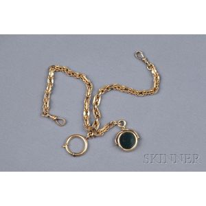 Antique 14kt Gold and Hardstone Watch Chain and Fob