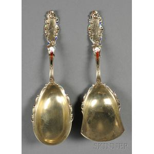 """Pair of Gorham Enameled and Gold-washed Sterling """"Luxembourg"""" Flatware Servers"""