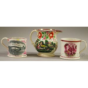 Sunderland Pink Lustre Transfer-decorated Pitcher and Two Mugs