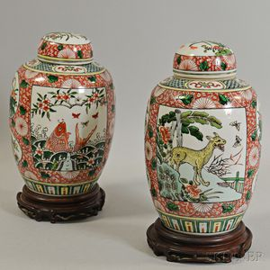 Pair of Covered Famille Verte Jars