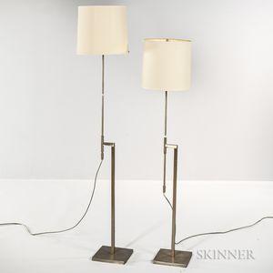 Pair of Modernist Metal Floor Lamps by Laurel