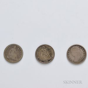 1835 Capped Bust Dime and an 1845 and 1861 Seated Liberty Dime