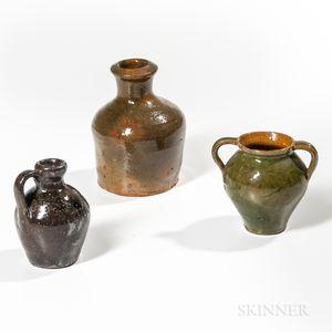 Three Miniature Glazed Redware Vessels