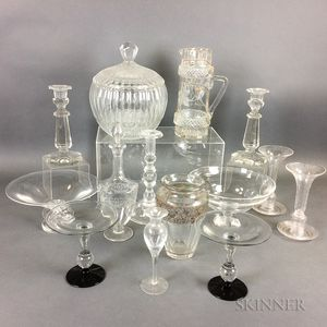 Fourteen Colorless Glass Tableware Items