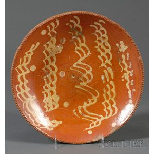 Large Yellow Slip-decorated Redware Plate