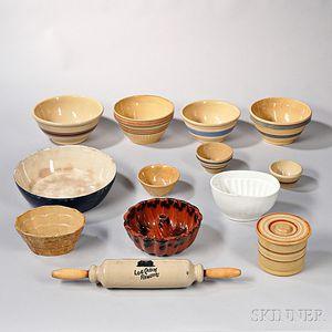 Thirteen Pieces of Kitchen Pottery
