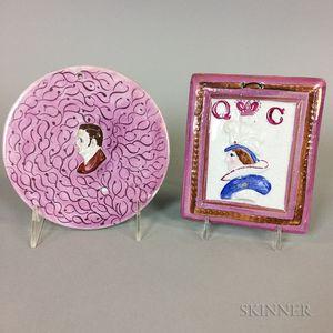 Two Pink Lustre Ceramic Plaques