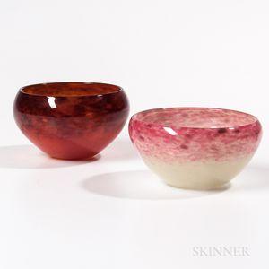 Two Schneider Art Glass Bowls