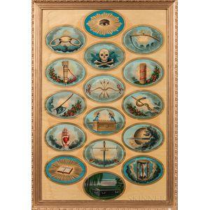 Large Odd Fellows Symbols Tracing Board Lithograph