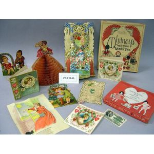 Collection of Valentines and Related Paper Items.