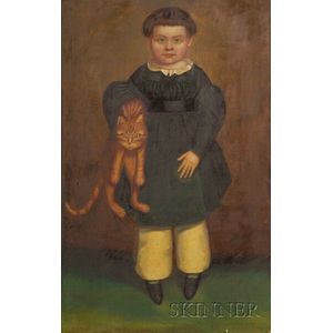 Possibly by Henry Walton (American 1804-1865),    Portrait of a Boy with his Cat, c. 1835-1840.