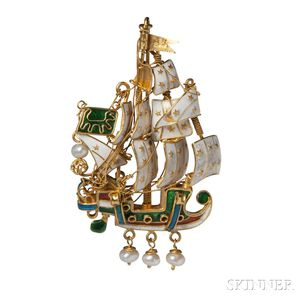22kt Gold and Enamel Ship Brooch