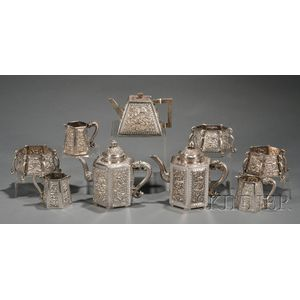Nine Chinese Export Silver Tea Wares