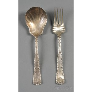 """Pair of Tiffany & Co. Sterling """"Wave Edge"""" Flatware Servers"""