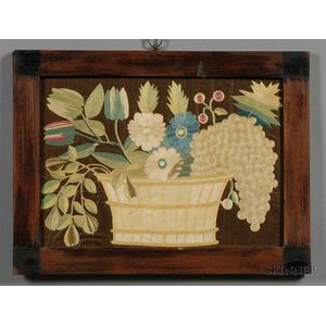 Silk Needlework Picture of a Basket of Fruit and Flowers