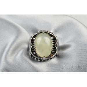 Silver and Prehenite Ring, Margret Craver