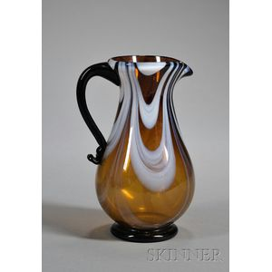 Free-blown Marbrie Glass Pitcher