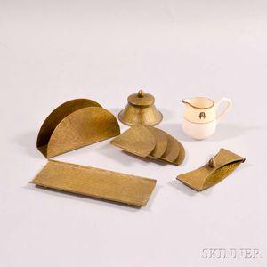 Roycroft Bronze Desk Set and a Lenox Creamer