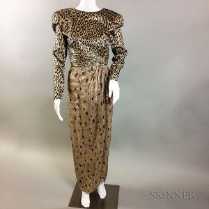 Bill Blass Silk Lame Leopard-print Gown