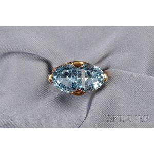 18kt Gold and Aquamarine Twin-stone Ring, Tiffany & Co.