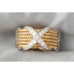 18kt Gold, Platinum and Diamond Ring, Schlumberger, Tiffany & Co.