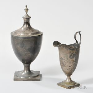 Abraham Dubois Silver Creamer and Covered Sugar Bowl