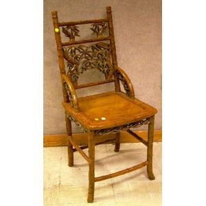 Asian Carved Hardwood Side Chair.