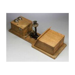"""""""Two Box"""" Oak Wall Telephone by the Century Telephone Construction Co."""