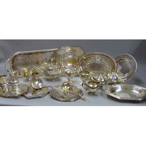 Approximately Nineteen Silver Plated Serving Pieces