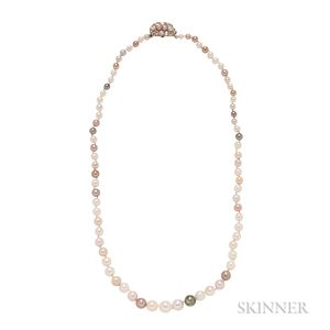 Antique Colored Pearl and Diamond Necklace