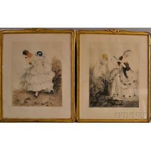 Pair of Framed Aquatints