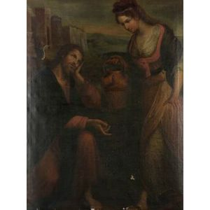 Continental School, 19th Century  Christ and the Woman of Samaria.