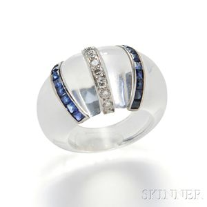 Rock Crystal, Diamond, and Sapphire Ring