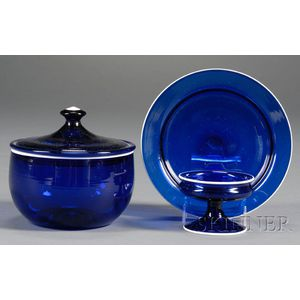 Three White-rimmed Cobalt Blown Glass Table Items