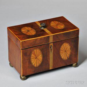 Mahogany Veneer and Patera Inlaid Tea Caddy