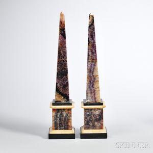 Pair of Derbyshire Blue John Obelisks