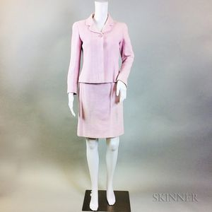 Chanel Boutique Light Pink Wool Suit