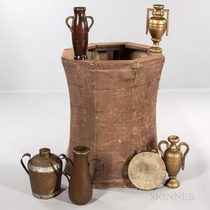 Collapsible Painted Canvas and Wood Rebekah Well, Five Urns, and a Tambourine