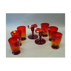 Set of Six Amberina-type Water Goblets and a Pair of Ruby Glass Candlesticks.