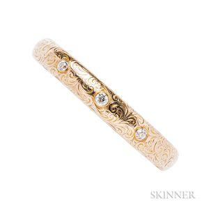 Art Nouveau 14kt Gold and Diamond Bangle Bracelet