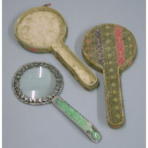 Cased Chinese Silver and Carved Jade Magnifying Glass.