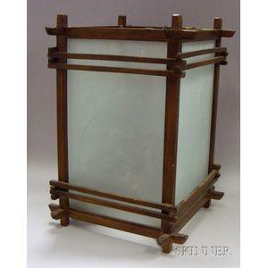 Asian-style Glass and Wood Lantern.