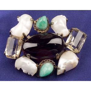 Gem-set and Freshwater Pearl Brooch