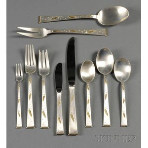 "Gorham Sterling ""Golden Wheat"" Pattern Partial Flatware Service for Twelve"