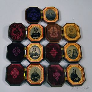 Seven Ninth-plate Portraits of Women in Seven Eight-sided Union Cases